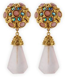 Jose & Maria Barrera Pink Quartz Drop Clipon Earrings - Lyst