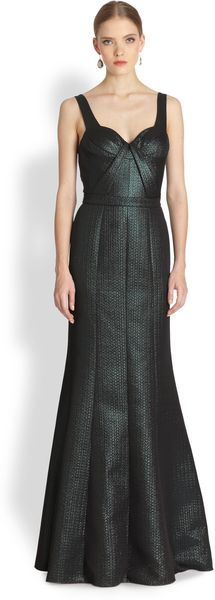 David Meister Sleeveless Metallic Gown - Lyst