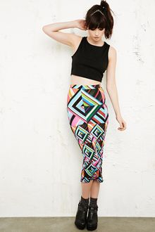 House Of Holland Geometric Print Tube Skirt - Lyst