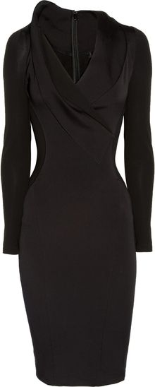 Donna Karan New York Stretch Cotton blend and Stretch crepe Dress - Lyst