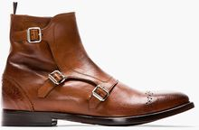 Alexander McQueen Brown Leather Brogued Monk_strap Boots - Lyst
