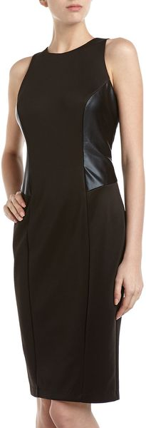 Alexia Admor Leather Panel Cocktail Dress Black - Lyst