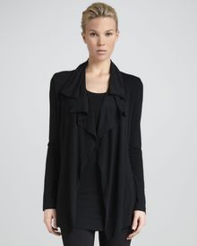 Donna Karan New York Flutterfront Cardigan Jacket Black - Lyst