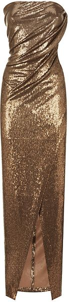 Donna Karan New York Twisted Sequin Strapless Gown - Lyst