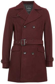 Topman Burgundy Wool Mix Trench Coat - Lyst