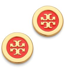 Tory Burch Logo Enamel Stud Earrings - Lyst