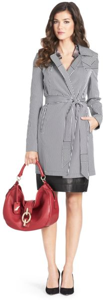 Diane Von Furstenberg Barley Belted Striped Trench Coat - Lyst