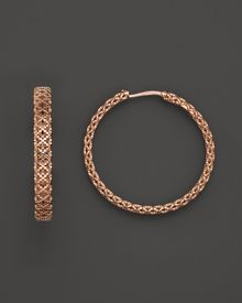 Gucci 18k Rose Gold Diamantissima Light Hoop Earrings - Lyst