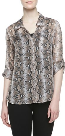 Diane Von Furstenberg Lorelei Two Pythonprint Chiffon Top - Lyst