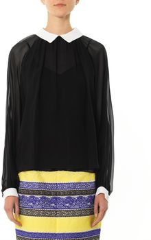 Prabal Gurung Contrast Collar and Cuff Silkchiffon Blouse - Lyst