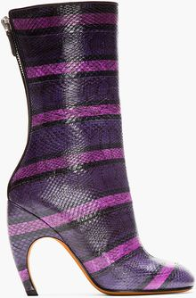 Givenchy Purple Striped Snakeskin Luna Boots - Lyst