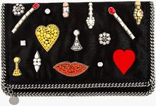 Stella McCartney Black Embroidered Jewel Foldover Clutch - Lyst