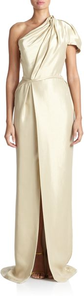 J. Mendel Metallic Draped Oneshoulder Gown - Lyst