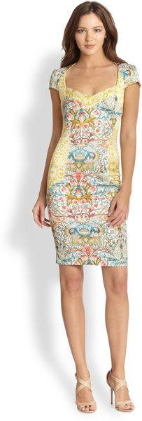 Just Cavalli Cap-sleeve Floral-print Dress - Lyst