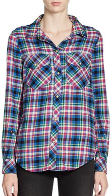 Textile Elizabeth And James Max Cotton Plaid Shirt - Lyst