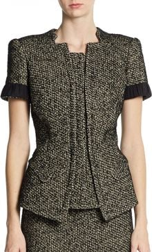 Zac Posen Tweed Short-sleeve Jacket - Lyst