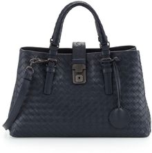 Bottega Veneta Roma Leggero Small Satchel Bag Navy - Lyst