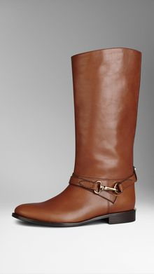 Burberry Buckle Detail Leather Boots - Lyst
