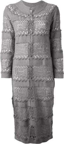 Dior Crocheted Long Cardigan - Lyst