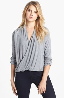 Two By Vince Camuto Roll Tab Sleeve Wrap Front Highlow Top - Lyst