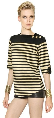 Balmain Striped Lurex Cotton Jersey Top - Lyst