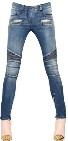 Balmain Washed Cotton Denim Biker Jeans - Lyst