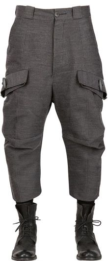 John Galliano Woollinen Blend Twill Cargo Trousers - Lyst