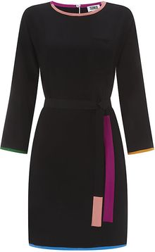 Sonia By Sonia Rykiel Contrast Trim Silk Tunic Dress - Lyst