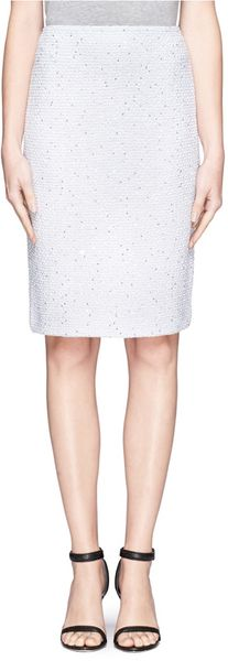 St. John Sequin Scallop Knit Pencil Skirt - Lyst