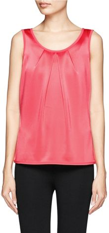 St. John Pleated Satin Sleeveless Top - Lyst