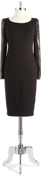 Bailey 44 Sheath Dress with Faux Leather Mesh Sleeves - Lyst