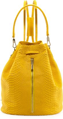 Elizabeth And James Cynnie Pythonembossed Drawstring Backpack Lemon Zest - Lyst
