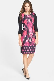 Elie Tahari Angie Mixed Media Dress - Lyst