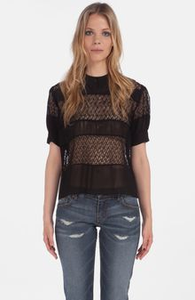 Maje Daba Embroidered Sheer Blouse - Lyst