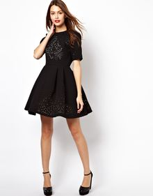 Asos Extreme Skater Dress with Laser Cut Outs - Lyst