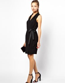 Asos Tux Dress with Grosgrain Tie - Lyst