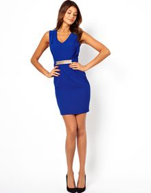 Asos Pencil Dress with Metal Belt and V Neck - Lyst