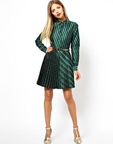 Asos Skater Dress with Pleats in Geo Jacquard - Lyst