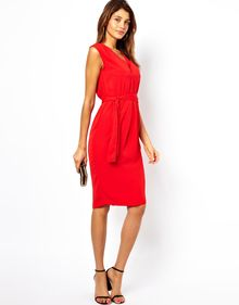 Asos Midi Dress with Double V Neck - Lyst