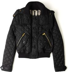 Burberry Brit Detachable Hood Quilted Bomber Jacket - Lyst