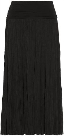 Donna Karan New York Casual Luxe Crinkled Stretchsilk Midi Skirt - Lyst
