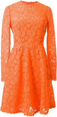 Valentino Orange Macramé Dress - Lyst