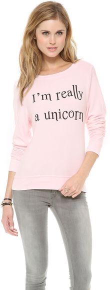 Wildfox Im Really A Unicorn Baggy Beach Sweatshirt - Lyst