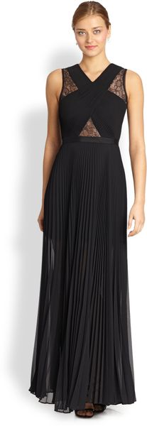BCBGMAXAZRIA Caia Pleated Illusion Dress - Lyst