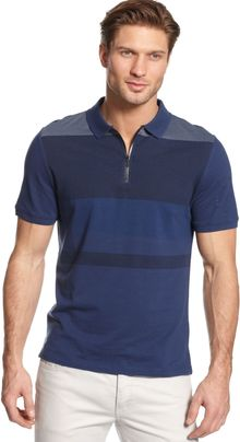 Calvin Klein Pique Engineered Stripe Polo Shirt - Lyst