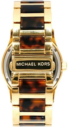 Michael Kors Runway Gold and Tortoiseshell Watch - Lyst