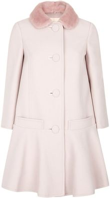 RED Valentino Mink Collar Coat - Lyst