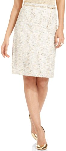 Tahari By Asl Metallic Tweed Chainbelt Pencil Skirt - Lyst