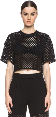3.1 Phillip Lim Laser Cut Cropped Blouse - Lyst