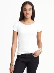 Banana Republic Luxe Touch Piped Tee White - Lyst